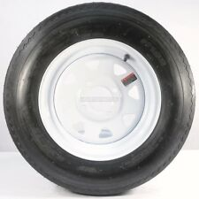 "Two Trailer Tires & Rims 5.30-12 530-12 5.30 X 12 12"" 4 Lug Wheel White Spoke"