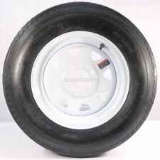 "Two Trailer Tires & Rims 5.30-12 530-12 5.30 X 12 12"" 4 Lug Wheel White Spoke"