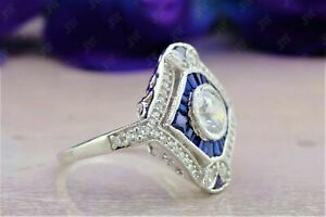 Art Deco Round Cut & Sapphire Antique Engagement Ring 925 Sterling Silver