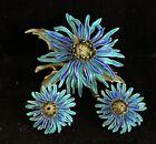 Vintage Corocraft Enamel Brooch Earrings Flower Chrysanthemum Jewelry Set