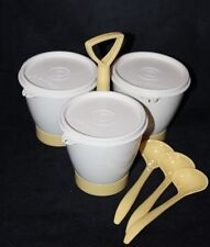 Vintage! Tupperware Sugar Creamer Condiment Caddy w/ Spoons 10-pc Set