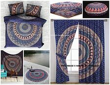 Urban Elephant Mandala 9 PC Set Indian Duvet + Tapestry + Curtains + Roundies