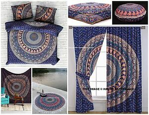 Indien Urban Elephant Mandala 9 PC Set Duvet + Tapestry + Curtains + Roundies