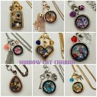 Large Floating Charm Locket Set with Origami Owl Sparkly Stardust Crystals