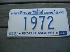 1992 92 RHODE ISLAND RI LICENSE PLATE GRAPHIC UNIVERSITY RESERVED NUMBER 1972 72