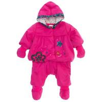 CATIMINI Baby Girls 6/9m PINK HOODED SNOW SUIT/mittens/booties 3pc SET NWT $160