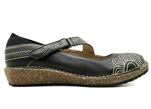 Aetrex Black Leather Floral Adjustable Wedge Loafers Shoes Womens 42 / 10.5 - 11