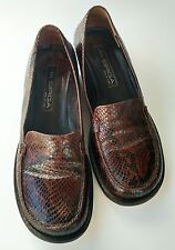 Via Spiga Sz 9 M brown two toned snake skin loafer shoes new sole & heel
