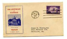 USA FDC 1941 150th Vermont Statehood Fidelity U-1
