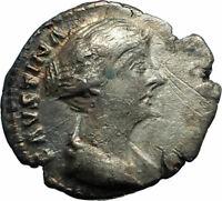 FAUSTINA II wife of Marcus Aurelius 145AD Silver Ancient Roman Coin VENUS i76130