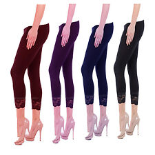 WOMENS LADIES CROPPED LEGGINGS WITH LACE 3/4 LENGTH CASUAL COTTON PANTS