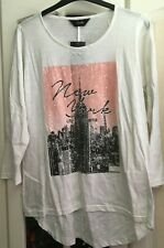 New YOURS Clothing White & Pink SPARKLY SEQUIN NEW YORK T-Shirt Top PLUS Size 16