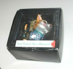 Vintage Large Cat Dressed Up Christmas Tree Decoration Glass Ornament Hand Paint