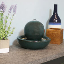 "Sunnydaze Indor Tabletop Fountain Orb Design Ceramic Interior Water Feature - 7"""