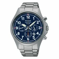 Pulsar Chronograph Mens Watch Solar Power Large Case 100M PX5001 UK Seller