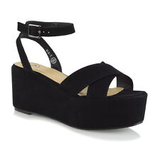 Womens Wedge Heel Platform Shoes Ladies Chunky Ankle Strap Flatform Sandals Size