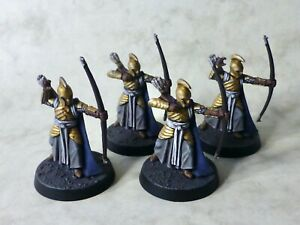 4 x High Elves with bows for Lord of the Rings (painted, based & varnished)