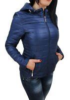 Giubbotto piumino donna blu casual giacca giubbino 100 grammi con cappuccio