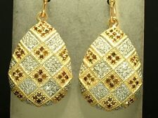 EP031 Genuine 9ct SOLID Gold NATURAL White & Brown DIAMOND Pave Drop Earrings