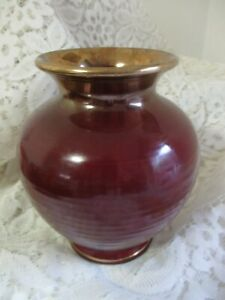 BULB SHAPEt Vase in maroon with gold TRIM, no. FOREIGN marks