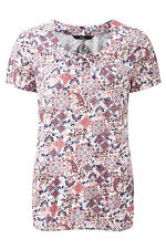 Bonmarche Womens Lace Up Detailed Gypsy T-Shirt Scoop Neck Short Sleeve Size 10