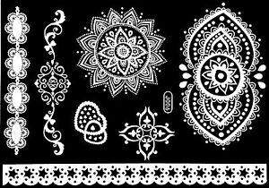 Tattoo Einmal Flash Klebe Weiß Braut Hochzeit Fuß Kette Henna Taufe Party J6W