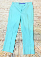 Lilly Pulitzer 12 Pants Straight Legs Blue Creased Flat Front Womens