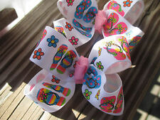 """Hair Bows Two Med 2"""" Color Flip Flops on White grosgrain to cute hair bows USA"""