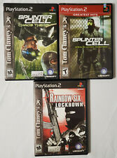 Lot of 3 Tom Clancy's Splinter Cell Chaos Stealth Rainbow Six Lockdown Complete