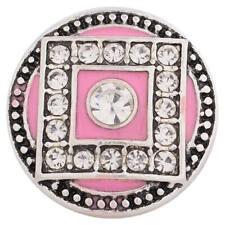 Rhinestones Charm for Snap Jewelry Kc8776 Cc3758 1 Pc - 18Mm Pink Square Enamel