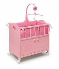 "Basket Basket Pink  Doll Crib with cabinet, Wheels, Bedding   20"" dolls    01777"