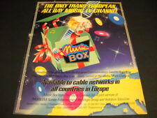 MUSIC BOX The Only Trans European All Day Music TV Channel 1984 PROMO POSTER AD