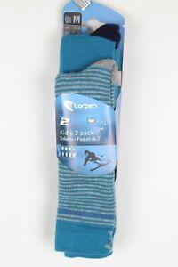 Lorpen Unisex Youth T2 Kids Merino Ski Socks 2 Pack Medium Size 1-3 Blue S2KN