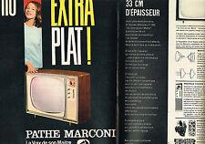 PUBLICITE ADVERTISING 124  1960   PATHE MARCONI   téléviseur extra-plat ( 2 pa)