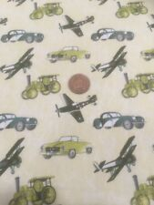 Planes Trains Automobiles Buttercream 100% Cotton Quilting Craft Fabric