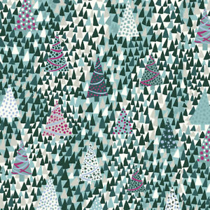 Liberty Of London Seasons Greetings Fabric Tree Sparkling Forest green
