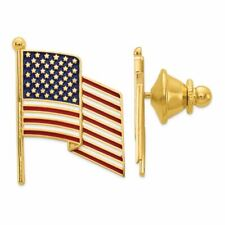 14K Yellow Gold Enameled American Flag Tie Tac MSRP $769