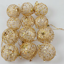 12x Christmas Baubles Tree Glitter XMas Ornament Hanging Ball Decoration Gift