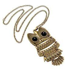 Vintage Black Eye Owl Bronze Long Chain Necklace Pendant Lovely Jewellery Gift
