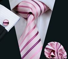 Pink Striped Necktie Set include Handkerchief and Cufflinks (by Hi-Tie)
