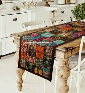 Indian Vintage Brown Table Runner Patchwork Wall Hanging Embroidered Tapestry