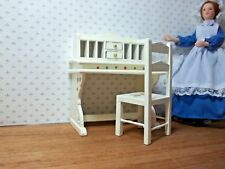LITTLE  PAINTED  DESK AND CHAIR - DOLL HOUSE  MINIATURE