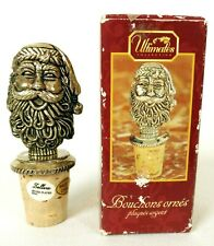 Vintage Silver Plated Wine Cork Stopper Santa Head with Box Christmas Zellers