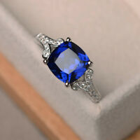 2.95 CT Blue Sapphire Gemstone Diamond Rings Real 14K White Gold Ring Size N P O