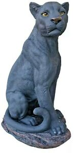 61 cm Panther Statue Sitting On Base Garden Decor Outdoor