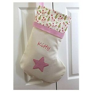 PINK STAR UNICORN 50CM PERSONALISED CHRISTMAS STOCKING WITH EMBROIDERED NAME