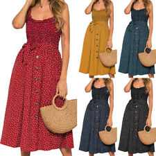 Women Summer Sleeveless Polka Dot Beach Dress Ladies Stretch Holiday Sundress
