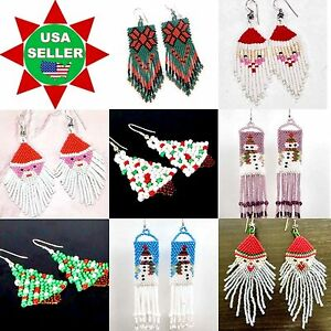 NEW HANDMADE BEADED SNOWMAN SANTA CLAUS CHRISTMAS TREE, HOLIDAY JEWELRY EARRINGS