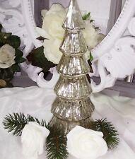 Tannenbaum Silber Glas Weihnachtsbaum Baum Deko 25cm  shabby Vintage