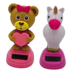 2pcs Dancing Powered Nodding Dashboard Figure Car Ornament -Unicorn/Bear
